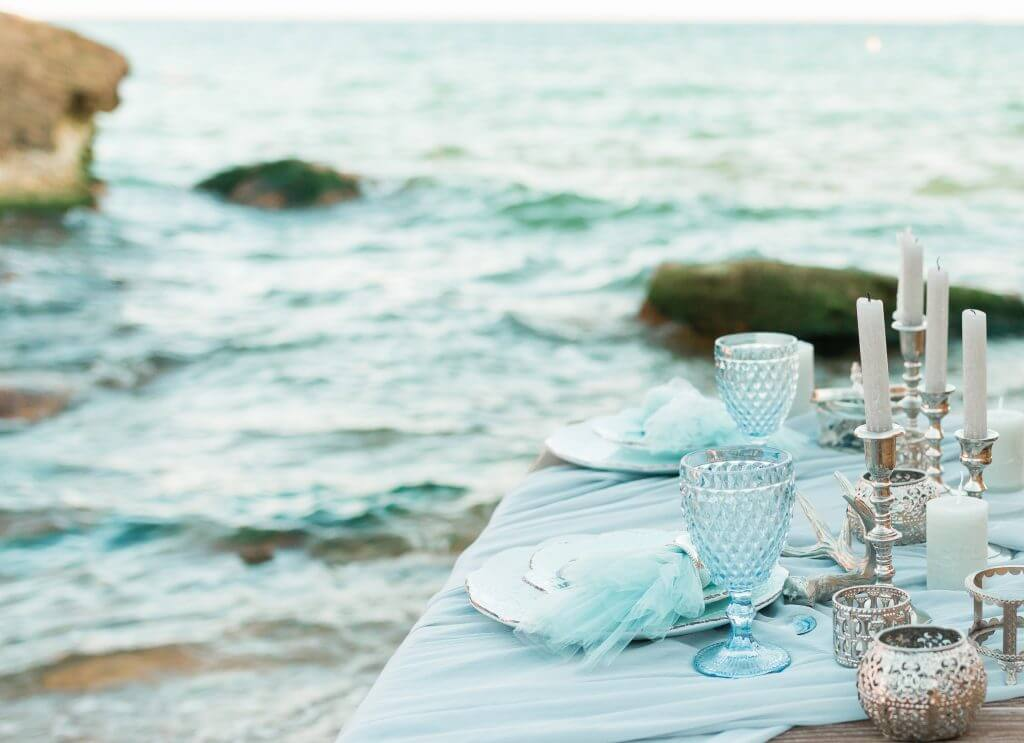 table set on the beach