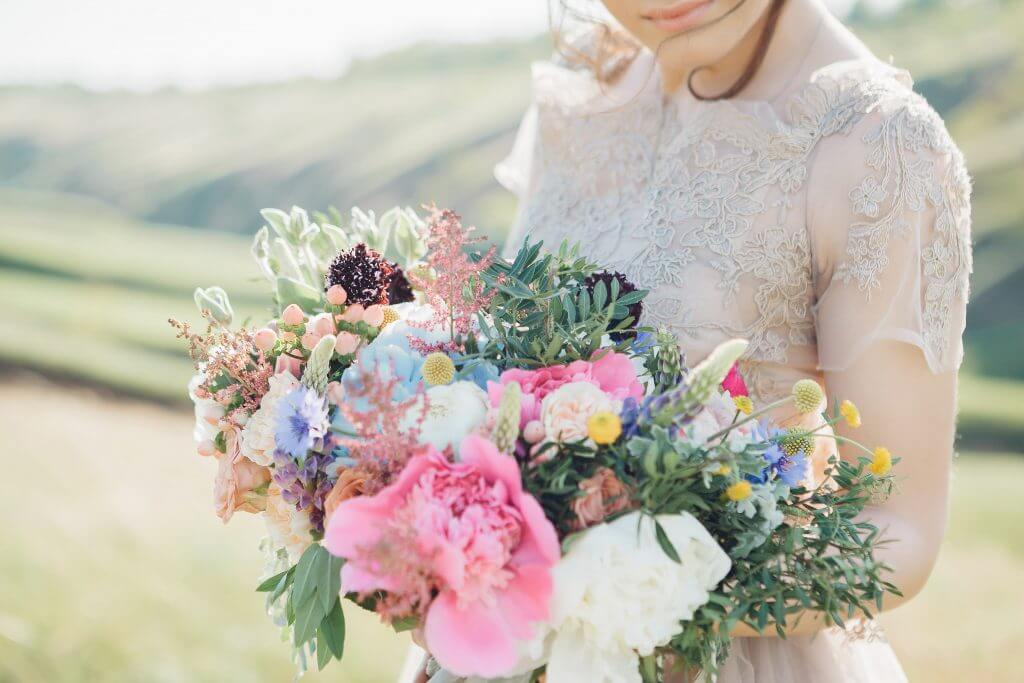 bridal multicolored peonies bouquet