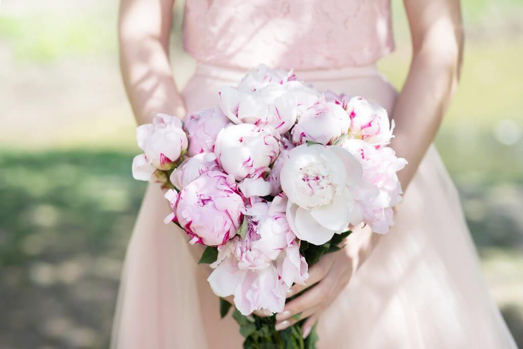 light pink peonies bridal bouquet