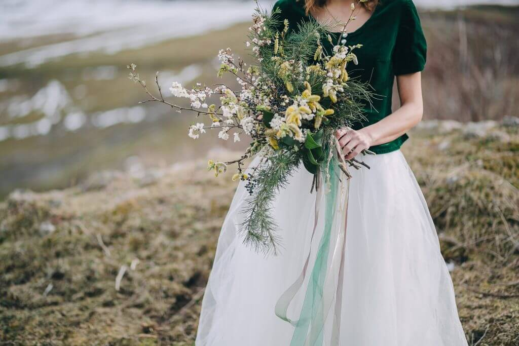pine branches greenery bridal bouquet