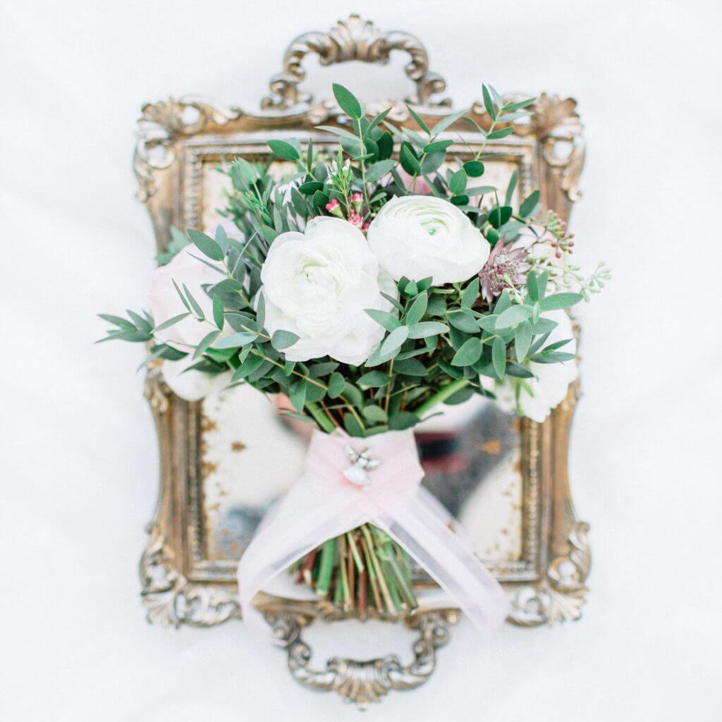 white winter ranunculus bridal bouquet