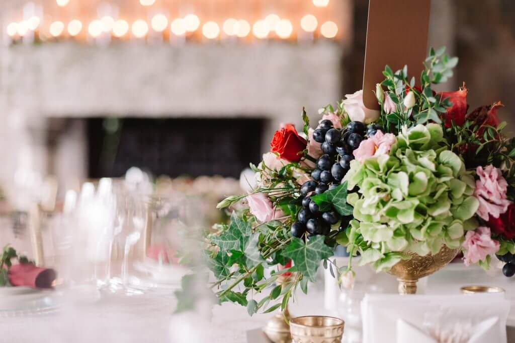 vintage colored centerpiece