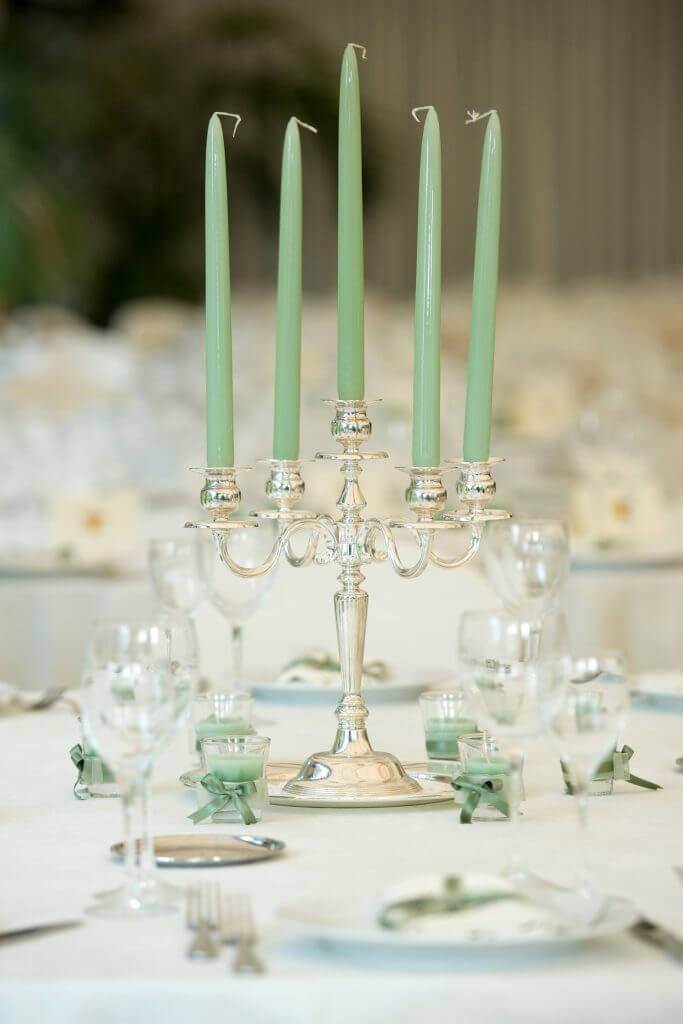 mint candelabra centerpiece