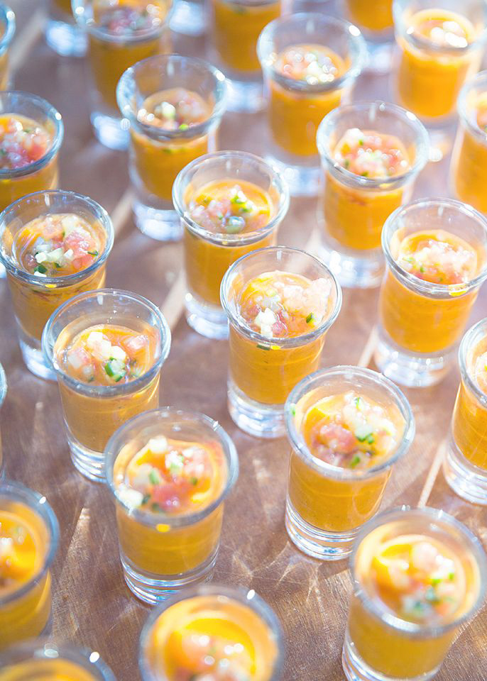soup into elegant shot glass