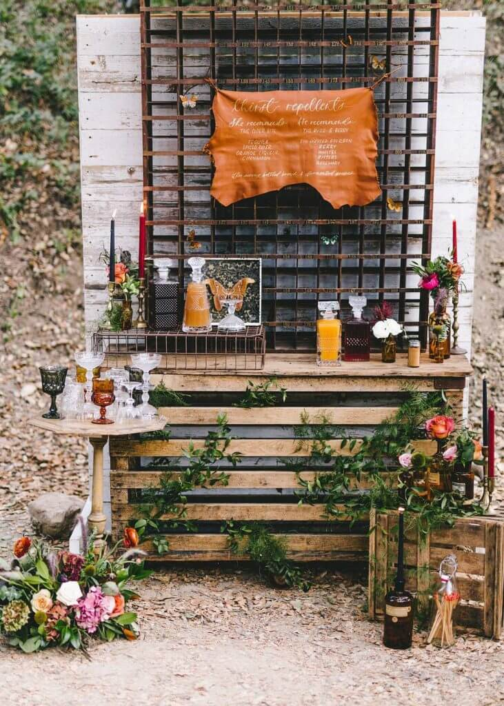 decanter wedding bar idea