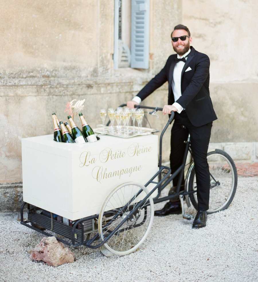 champagne tray wedding bar idea