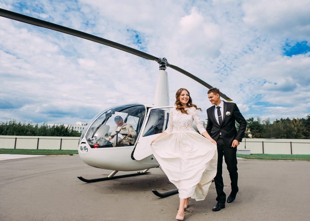 helicopter wedding transportation idea