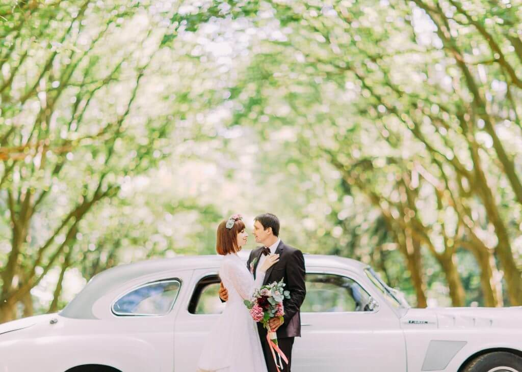 vintage car wedding transportation idea