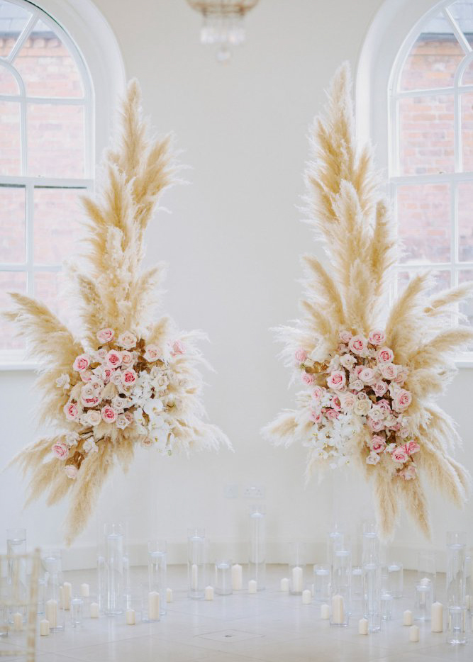 pampas wedding arch make happy memories