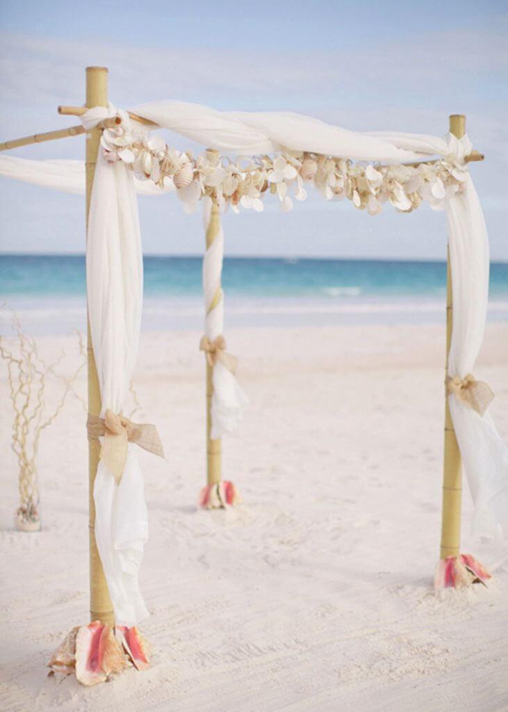 shell wedding arch make happy memories